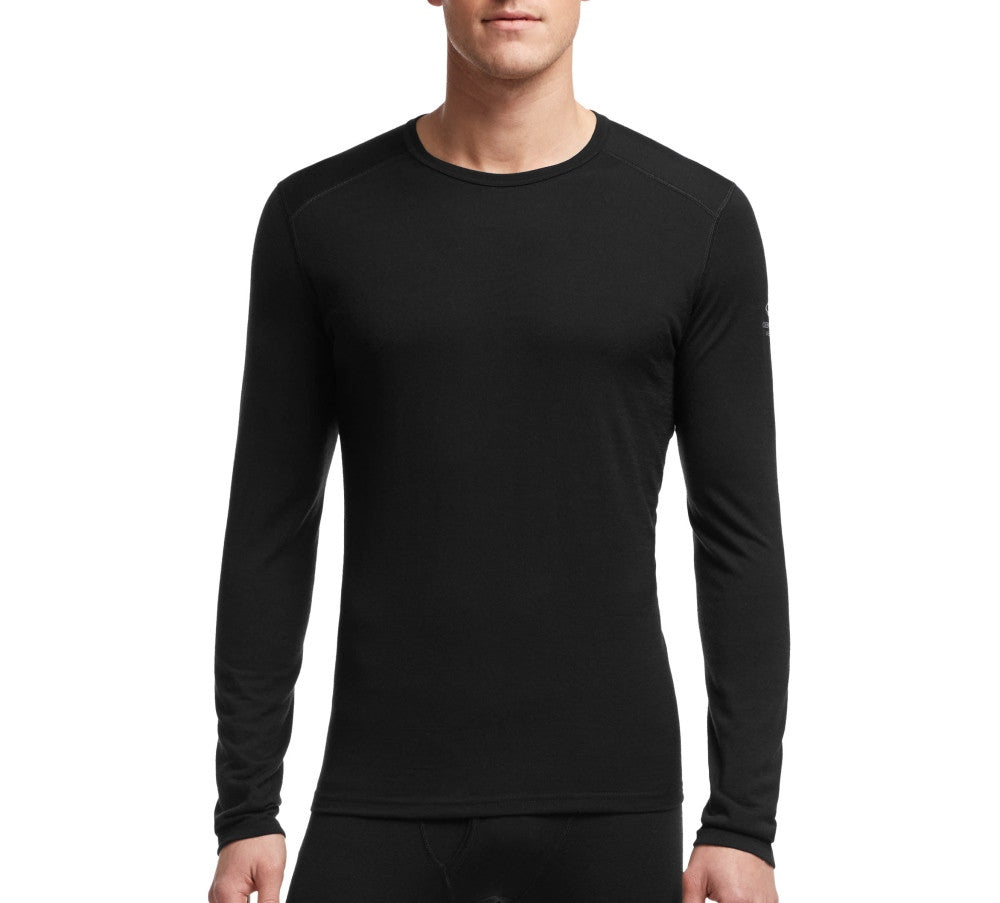 Men's Oasis Long Sleeved Crewe Baselayer in Black - Icebreaker