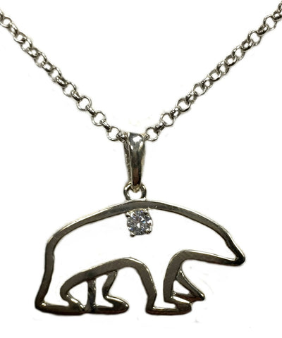 Sterling Silver Polar Bear Necklace with Swarovski Crystal - Quark Expeditions, Inc.