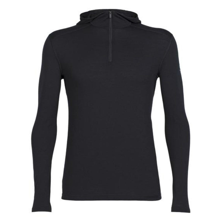 Men's Oasis Half-Zip Hooded Baselayer in Black - Icebreaker
