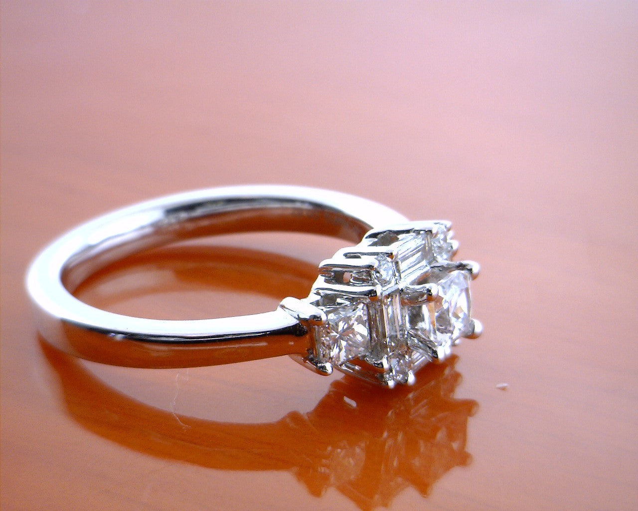 14k White Gold Princess Cut Baguette Engagement Ring - Mavrik Jewelry