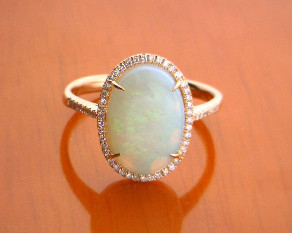 14k Rose Gold Diamond Opal Ring Mavrik Jewelry