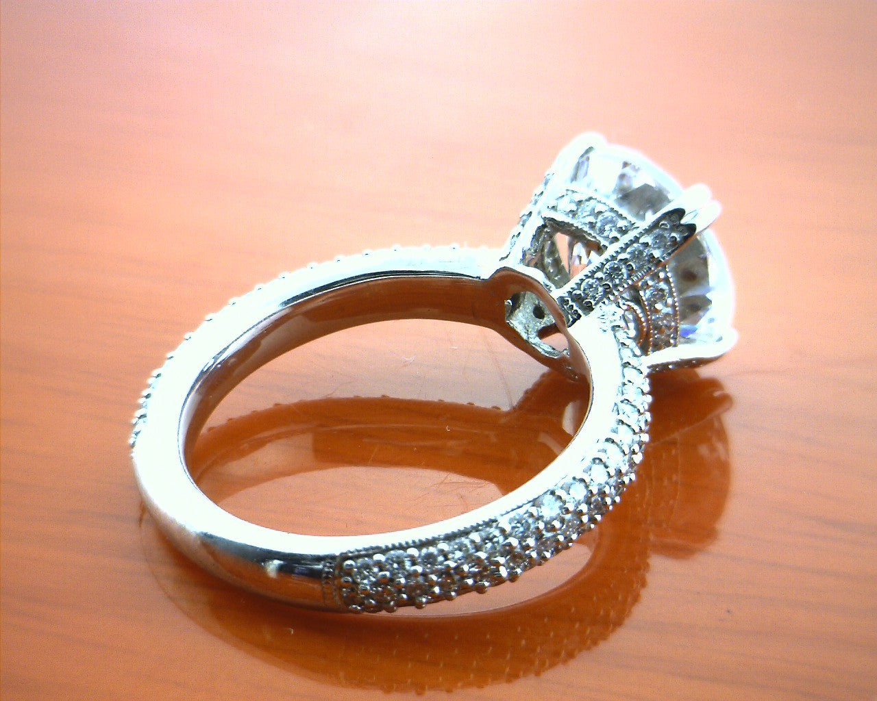 prong band diamond ring with a bands engagement four rings