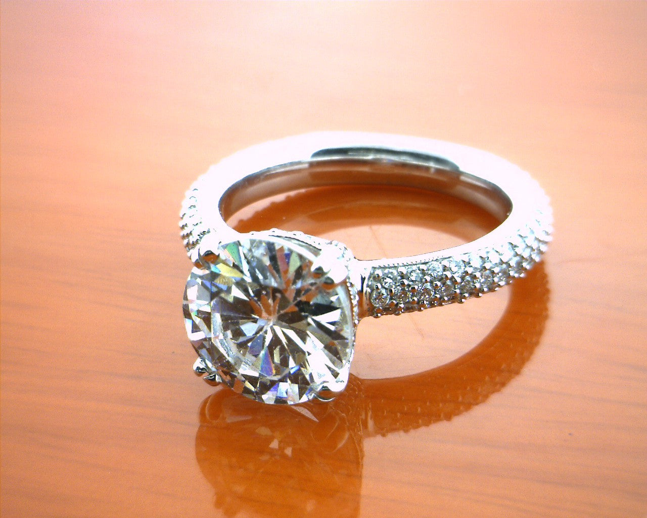 14k White Gold Solitaire Engagement Ring With Triple Row Diamond