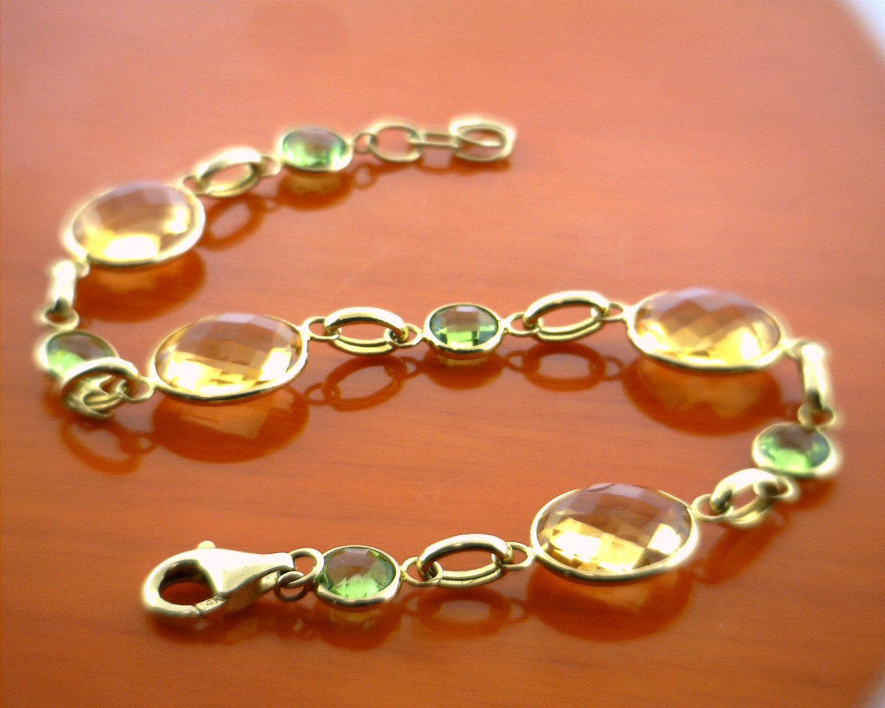 quartz and natural singapore citrine crystals bracelet