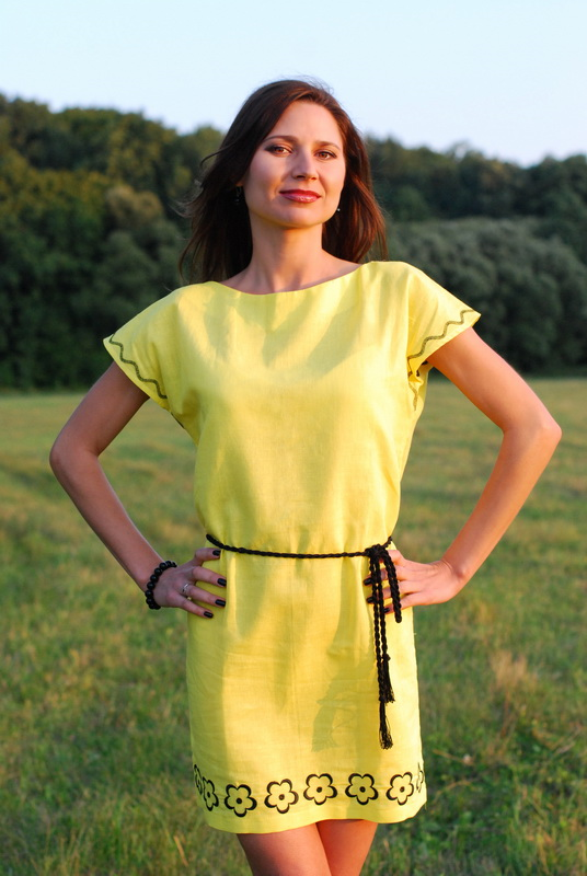 4e0647cc5ef Women s linen (flax) dress-tunic yellow with black embroidery. Ukie Style