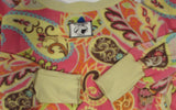 Pink and yellow paisley Medium