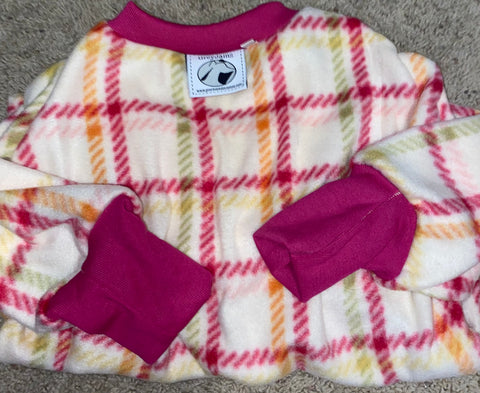 Sally cream and pink Plaid Medium