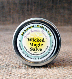 three sisters herbals organic skin care handcrafted wicked magic salve wicked magic salve tea tree oil skin care salve ring worm rashes rash treatment plantian organic magic salve herbal salve hand crafted grapefruit seed extract diaper rash comfrey chickweed calendula baby skin care athletes foot all natural