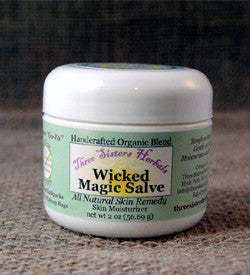 three sisters herbals organic skin care handcrafted wicked magic salve wicked magic salve tea tree oil skin care rashes rash treatment organic magic salve horses hooves hooved animals hoof farm animals dry skin dogs dog cream cracked heels chickens cats antifungal animals animal care kit all natural dog gifts all natural abscesses. The best all-natural herbal salve.