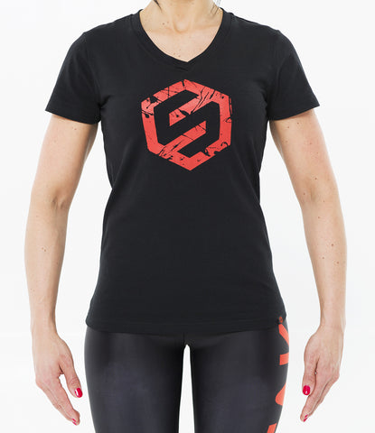 BLACK WOMEN SPLASH LOGO V-NECK TEE