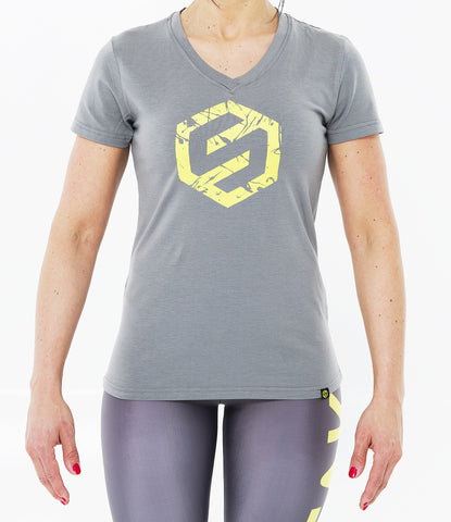 GREY WOMEN SPLASH LOGO V-NECK TEE