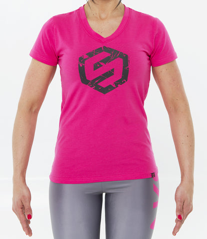 PINK WOMEN SPLASH LOGO V-NECK TEE