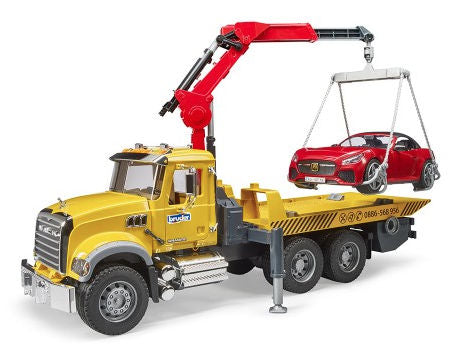 #02829 1/16 Mack Granite Tow Truck with Bruder Roadster