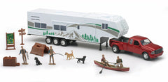 #10706 1/32 Red Ford Dually Pickup with Fifth Wheel Camp Trailer & Accessories