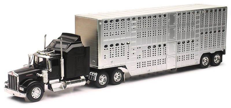 #10783A 1/32 Black Kenworth W900 with Pot-Belly Cattle Trailer
