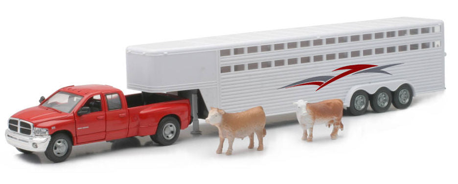 #10923D 1/32 Red Dodge Ram 3500 Dually with White Livestock Trailer