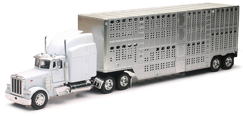 #12073B 1/32 White Peterbilt 379 with Pot-Belly Cattle Trailer