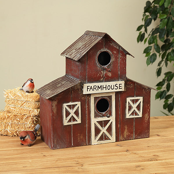 #2470070 Antique Red Metal Barn Wall Hanging Birdhouse