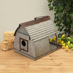 #2517330 Metal Hanging Barn Birdhouse & Bird Feeder