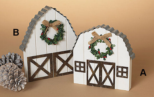 #2532340 Wood & Metal White Holiday Barn, 2 styles