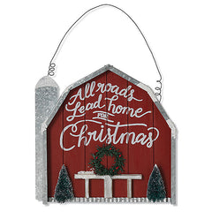 "#2532400 13""H Wood & Metal Holiday Hanging Barn"