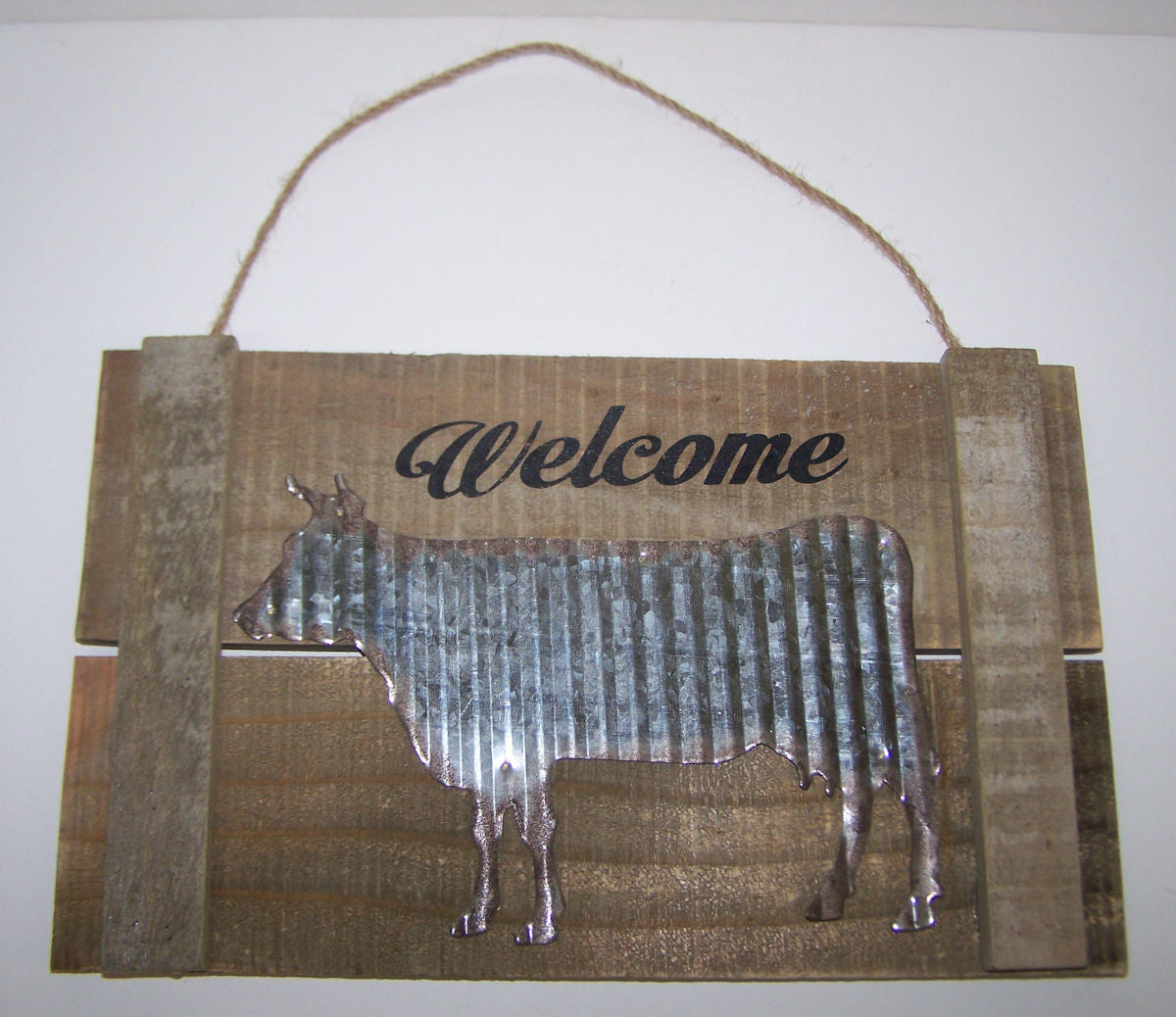 #30043538 Wood Sign with Metal Cow Pattern
