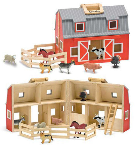 #3700MD Fold & Go Wooden Barn with Animals
