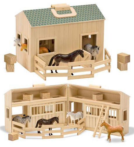 #3704MD Fold & Go Wooden Stable with Horses
