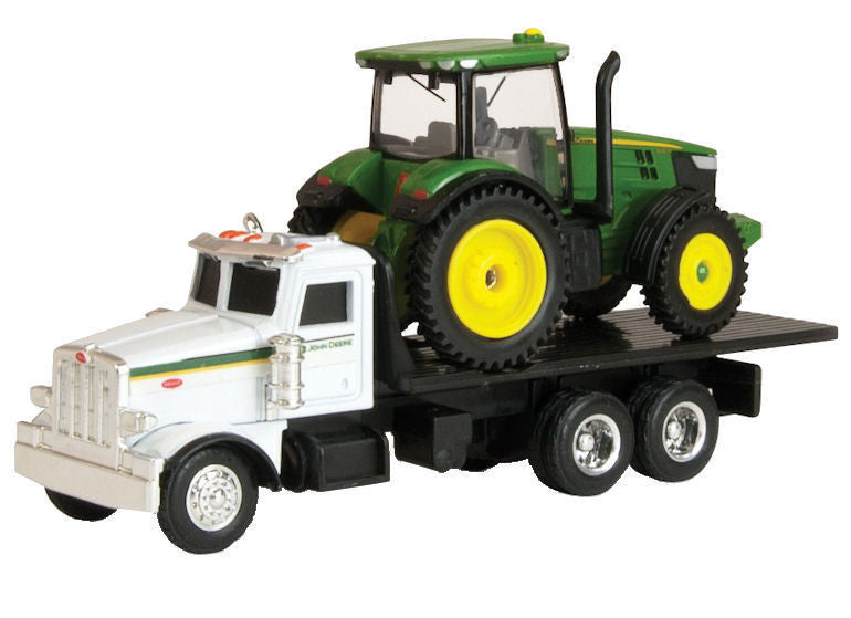 #45410 1/64 John Deere Dealer Peterbilt 367 Flatbed with JD 7200R Tractor