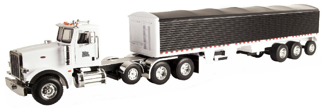 #46406 1/16 White Peterbilt Model 367 with Black Grain Trailer