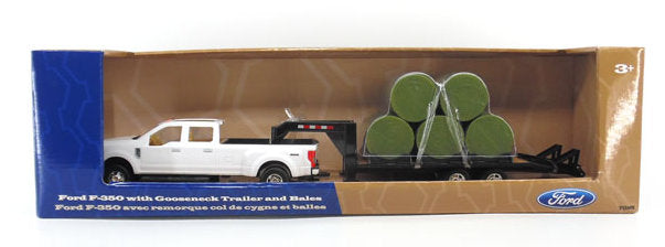 #46631 1/32 Ford F-350 Pickup with Gooseneck Trailer & Round Bales