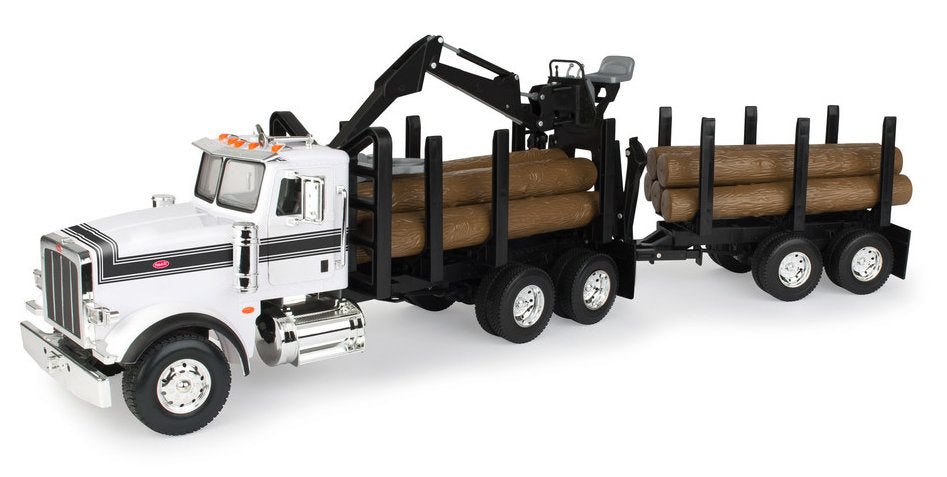 #46720 1/16 Big Farm Peterbilt Model 367 Logging Truck with Pup Trailer & Logs