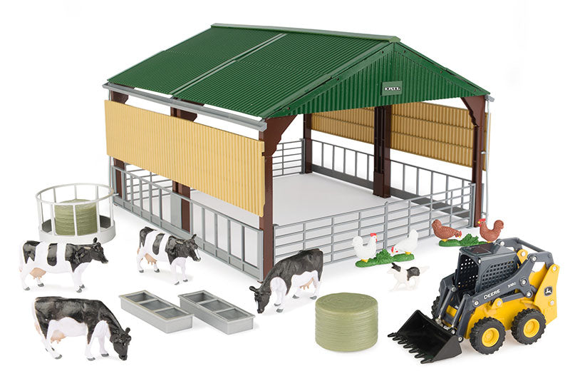 #47250 1/32 John Deere Skid Steer & Shed Playset