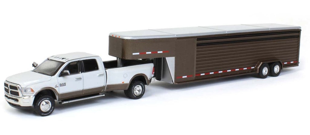 #51300A 1/64 White & Walnut Brown 2018 Dodge Ram 3500 Laramie Dually with Brown Continuous Slat 30 Ft. Tandem Axle Gooseneck Trailer