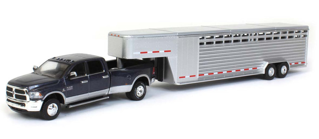 #51300B 1/64 Steel Metallic 2018 Dodge Ram 3500 Laramie Dually with Silver Two Slat 30 Ft. Tandem Axle Gooseneck Livestock Trailer