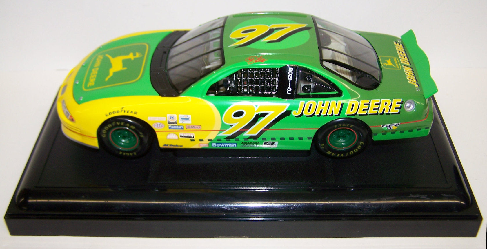 #5525BA 1/18 John Deere #97 Chad Little Pontiac Grand Prix Stock Car with Display Case
