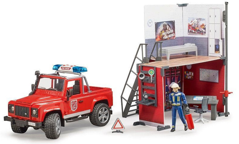 #62701 1/16 Bworld Fire Station with Land Rover and Fireman