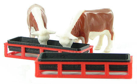 #64-302-R 1/64 Red Livestock Feed Troughs