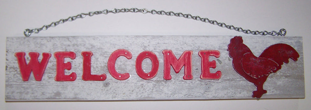 #7911 Hanging Wood Welcome Sign with Rooster