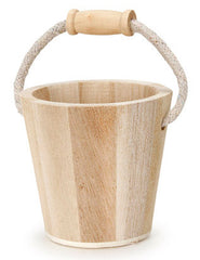 #9190-106A Wood Bucket with Rope Handle