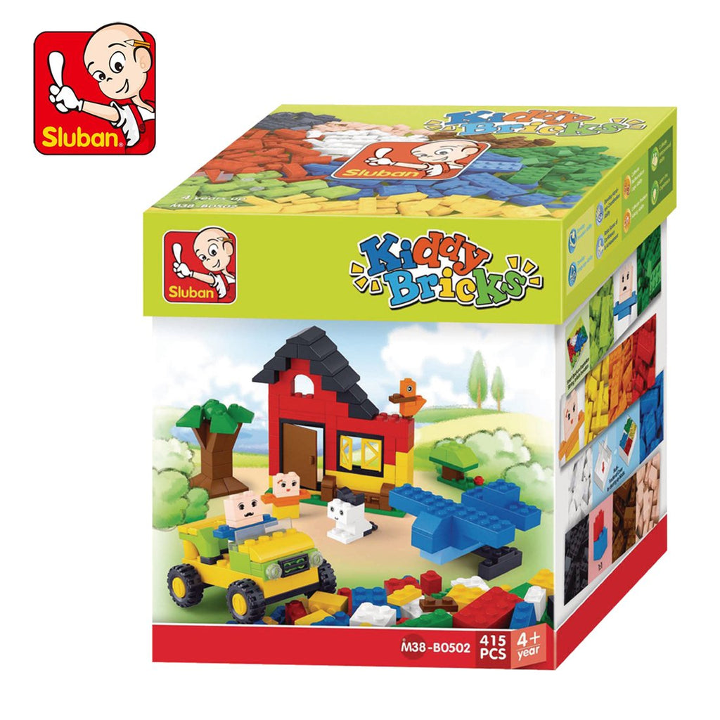 #B0502 Kiddy Bricks Bulk Classic Color Building Brick Set, 415 pc.