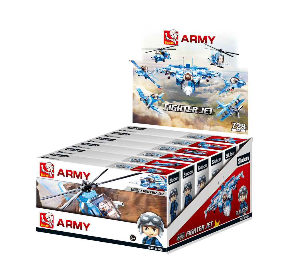 #B0666 Army Fighter Jet/Helicopter Building Block Assortment