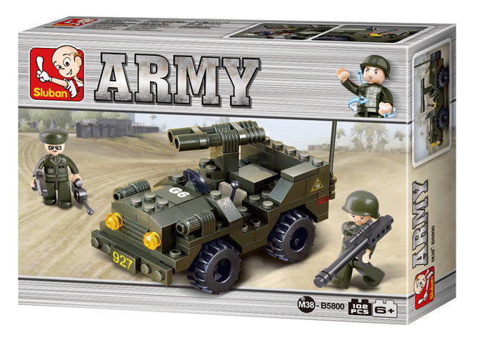 #B5800 Army Double Barrel Jeep Building Block Set