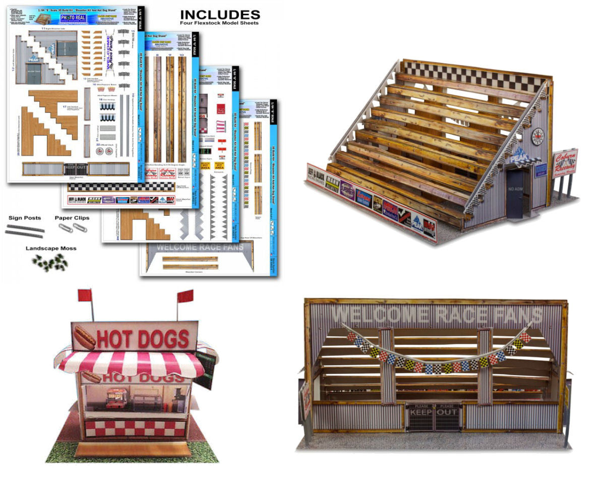 BK6402 1/64 Bleacher & Hot Dog Stand Building Kit