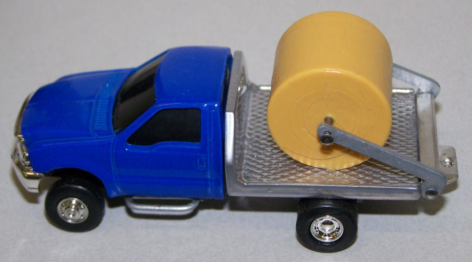 #CP14 1/64 Blue Ford F350 Dually with Silver Flatbed & Lift Kit