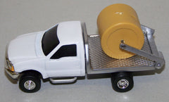 #CP15 1/64 White Ford F350 Dually with Silver Flatbed & Hay Lift