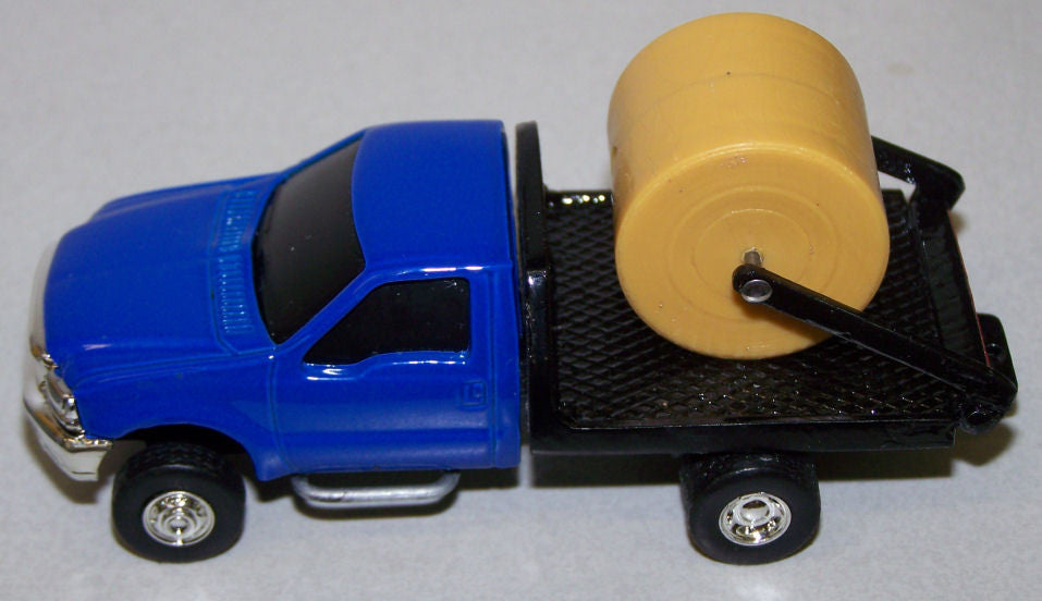 #CP16 1/64 Blue Ford F250 Dually with Black Flatbed & Hay Lift