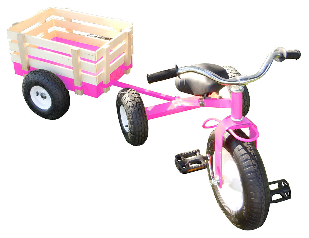 #Cart042P Pink All Terrain Tricycle with Wagon