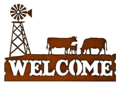 #H1138 Welcome Cows with Windmill Metal Sign