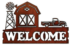 #H1601 Welcome Barn & Truck Metal Sign